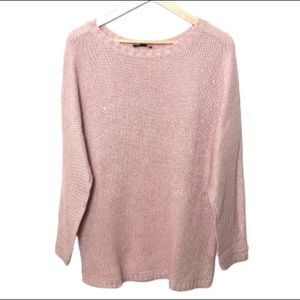 H by Halston sequin crew sweater pink long
